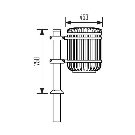 JBC-0045 - Corbeille Monceau 38 L avec poteau